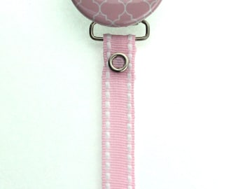 Personalized Name Pink Moroccan Tile Pacifier Clip (PER55) (MSRP 19.00)