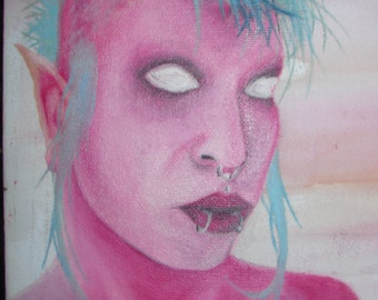 PIXIE - Original Art Painting - PUNK - Mohawk - Pink and Green - Fairy