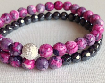 Beaded Bracelet Set, Hematite,Fuchsia Ocean Jade Rain Flower,Gemstone Stretch,Layering,Stacking