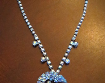 Rare 3D layered Moon Shaped Teardrop Blue Aurora Borealis Vintage Rhinestone Drop necklace