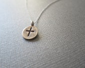 """Sterling Silver Round Cross Pendant Necklace, """"Dreamers Cross"""" Women's Charm Necklace"""