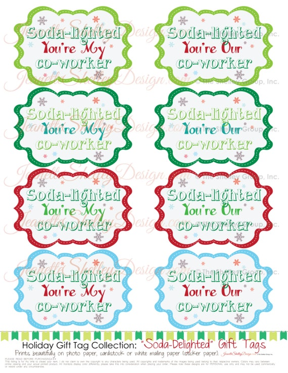 instant download... Printable Holiday Gift Tag Soda-Lighted