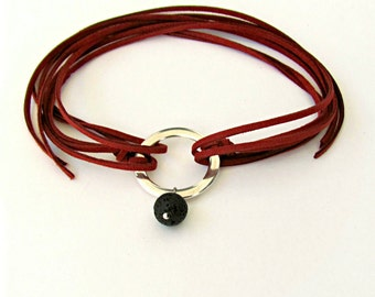 Ladies Pendant Choker Leather Wrap Loop Necklace, Circle jewelry