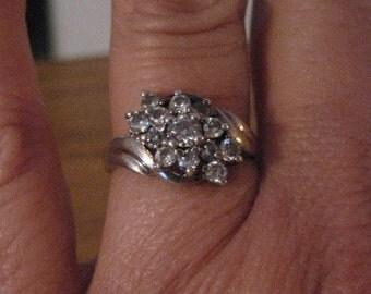 Vintage sterling silver cluster ring.  Signed.  925.  Size 7.  Bridal.
