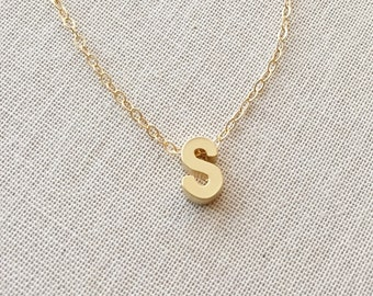 small letter s necklace 14kt gold filled necklace initial s charmpendant gold letter s necklace birthday gift custom necklace