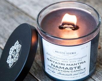 Gayatri Mantra-Namaste Meditation Black Scented Wood Wick Candle