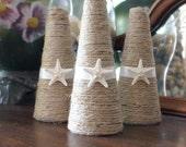 Seashell topiaries - 3 seashell trees - Christmas trees - starfish - coastal decor - wedding decor - wedding centerpieces - beach wedding