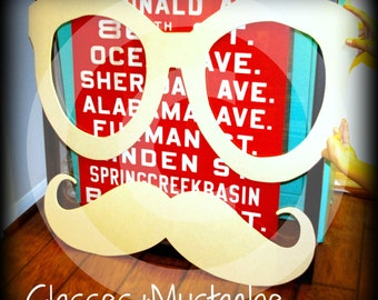 Giant Wood Glasses and Mustache decor- Wood Glasses-Wood Mustache-Little Man- Little Man Party- Mustache party- Mustache decorations