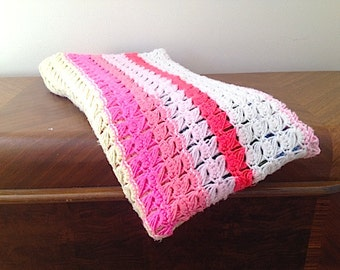 Vintage Acrylic Handmade Afghan, 1980's Colorful Striped Blanket, Summer Picnic Blanket,