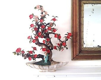 Mid Century Modern Home Decor, Asian Cherry Tree Ceramic Blossom Statue, House Warming Buda, Bohemian Chic Ceramic Mantle Statue,