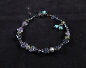 Hand beaded bracelet, leaf bracelet, nature bracelet, beaded charm bracelet,purple beaded bracelet, Purple luster glass leaf dangle bracelet