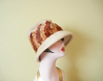 SALE! Vintage 1960's Feather Cloche Hat   Wool  Bucket Hat