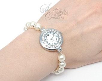 Pearl Watch, Pearl Bracelet Watch, Bracelet Watch, Bridal Pearl Bracelet, Wedding Jewelry, Wedding Bracelet, Swarovski Pearls Z02