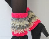 Women's Boot Cuffs Fringed, Pink Boot Cuffs, Boot Toppers, Chunky Leg Warmers, Winter Accessories, Fringed Boot socks