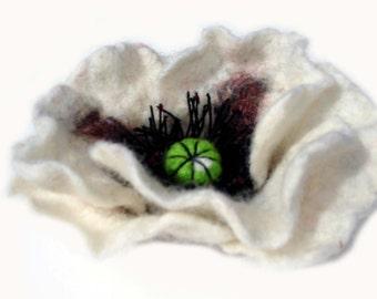 White felted poppy brooch pin, wool felt flower poppy.