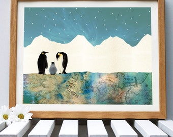 Penguin Family, Mixed Media Print
