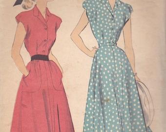 1940s Basic Day Dress Pattern Advance 4873 Size 10
