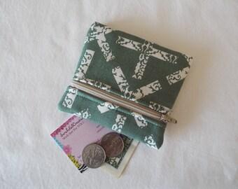 Coin Purse, Zipper Pouch, Change Purse, Wallet, X, cross, x marks the spot, gray, green, smoke, beige