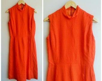 vintage 1960s orange dress . 60s summer dress . size small. medium