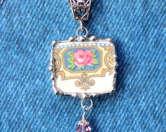 Necklace, Broken China Jewelry, Broken China Necklace, Pink and Blue Floral, Sterling Silver, Soldered Jewelry