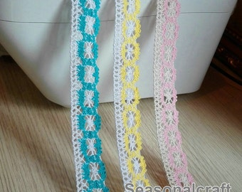 2 Yard Lace Trims 25mm Wide,Embroidery Crochet ,White pink blue beige yellow Color,Cotton (YL82B)