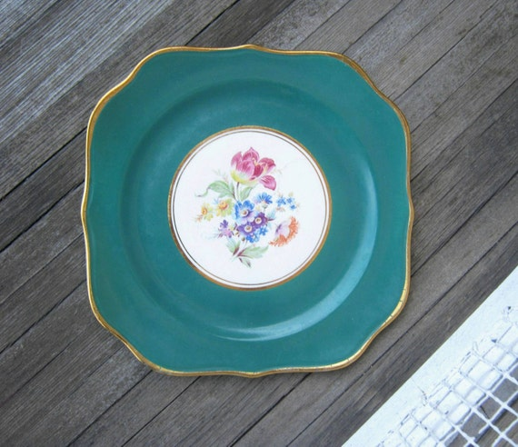 Pair of Antique Square Green Plates for Salad, Dessert or Sandwiches - Vogue Dinnerware Dark Green Plates - Shabby Flower Plates