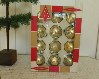Coby Glass Christmas Ornaments Box of 12 Gold Medium Size Balls American Made