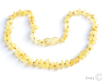 Raw Unpolished Baltic Amber Baby Teething Necklace Lemon Color Beads