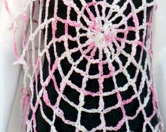 Crochet Vest Beach Cover Up Spider Web Lace Crop Top One Size Womens Beach Clothes Pink Boho Top