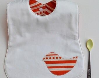 Mod Baby Bib, Orange Reversible Toddler Bib, Bird Applique, All Cotton, Hand Printed Fabric