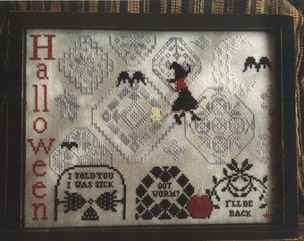 Halloween cross stitch pattern by AuryTM Designs - Quaker Halloween featuring witch, bat, tomb patterns, cute halloween, counted pattern