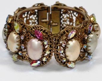 Huge Rhinestone Pearl Hinged Clamper Cuff Bracelet