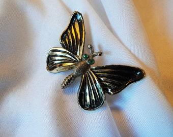 Butterfly Brooch Green Rhinestone Eyes Antiqued Gold Finish