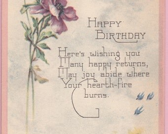 "Ca. 1920's ""Flowers & Motto"" Birthday Greetings Postcard - 517"
