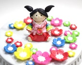Korean Hanbok fondant cake topper set. Perfect for your traditional Korean first birthday, baby shower and special celebration.