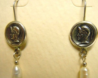 Sterling Roman Gladiator Pearl Dangle Earrings