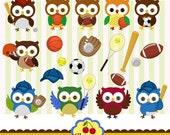 Sports Owls Digital Clip Art Set, Owls Digital Clip Art Set-Personal and Commercial Use