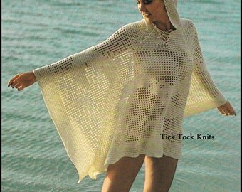 No.367 1970's Crochet Pattern PDF Vintage - Hooded Beach Cover-up - Poncho - Filet Crochet Summer Beach Dress - Retro Crochet Pattern