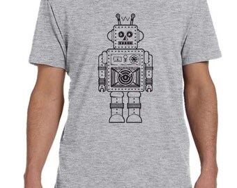 Retro Robot Mens TShirt, Robot Shirt For Men, OuterSpace Futurstic Clothing