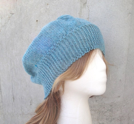 Knitting Pattern For Loose Beanie : Slouch Hat Hand Knit Wool Womens Beanie Loose Slouchy