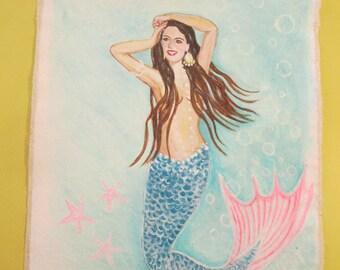 Custom Portrait Mermaid on Canvas 11 x 14 inches unframed