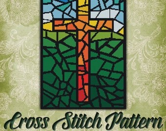 Stained Glass Cross Cross Stitch Pattern Colorful Church Window Design Instant Download PdF Pattern