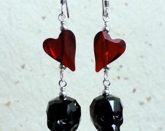 Swarovski Crystal Skull Earrings - Jet Black Crystal Skull & Heart Earrings