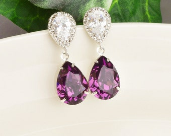 Amethyst Earrings - Swarovski Earrings - Purple Earrings - Crystal Teardrop Earrings Silver - Swarovski Jewelry - Bridesmaid Jewelry