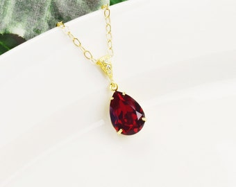 Gold Red Necklace - Ruby Red Swarovski Crystal Pendant Necklace - Red Bridesmaid Necklace - Siam Crystal Teardrop Necklace - Bridal Jewelry