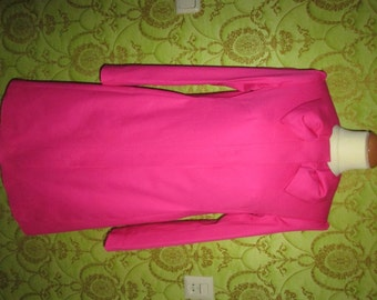 CUSTOM MADE RED Valentino inspired bow-neck concealed closure hot pink jacket coat