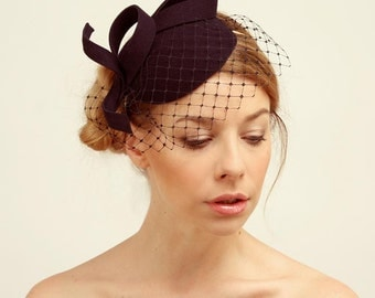 Bridal Hair Accessories,Felt Mini Hat,Fascinator,Dark Navy Blue
