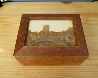 1930s Church Sewing Box with Sand Picture of a Church Village Home Decor Storage