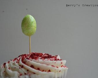 Light Green Easter Egg Cupcake Topper. 15 pieces