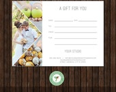 5x7 Digital or Print Gift Certificate, Gift Card, Photography Gift, One-Side, Single-Side, TEMPLATE - GC5